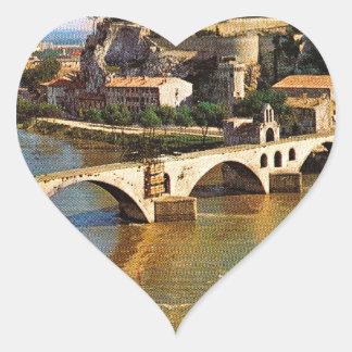 Vintage France, Avignon; broken bridge Heart Sticker