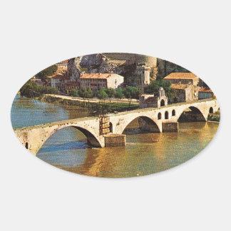 Vintage France, Avignon; broken bridge Oval Sticker