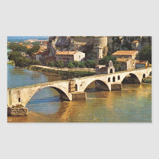 Vintage France, Avignon; broken bridge Rectangular Sticker
