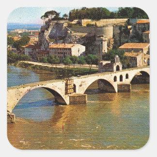 Vintage France, Avignon; broken bridge Square Sticker