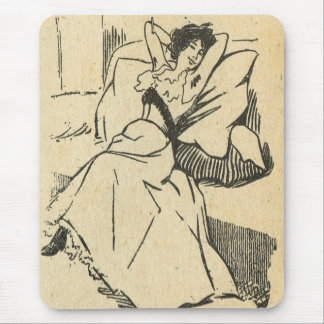 Vintage France, Belle Epoch, Exhausted and happy Mouse Pad