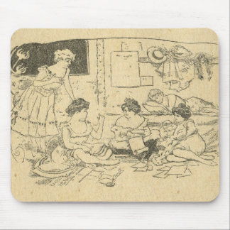 Vintage France, Belle Epoch, Ladies at leisure Mouse Pad
