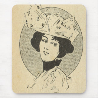Vintage France, Belle Epoch, Lady with a big hat Mouse Pad