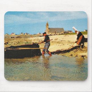 Vintage France, Bretagne, Beaching   fishing boats Mouse Pad