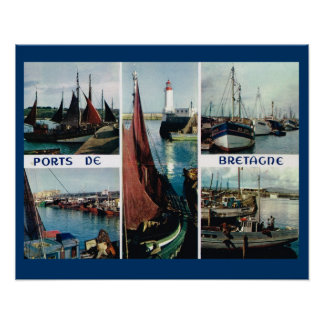 Vintage France, Bretagne, Boats and ports Poster