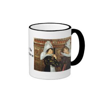 Vintage France, Bretonne ladies Ringer Coffee Mug