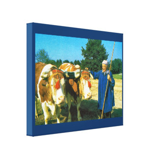 Vintage France, Cattle and farmer in the Bresse Canvas Print