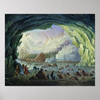 Vintage France, Cave, Mer de Glas, Mount Blanc Poster