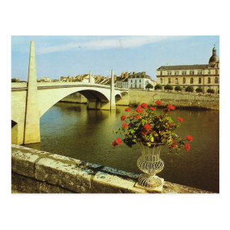 Vintage France, Chalons sur Saone, riviere Postcard