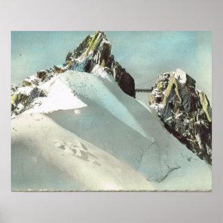 Vintage France, Chamonix Mont Blanc, mountain top Poster