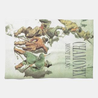 Vintage France Chamonix Mt Blanc Hand Towel