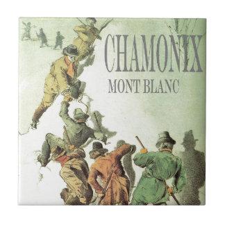 Vintage France Chamonix Mt Blanc Ceramic Tiles