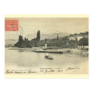 Vintage France, Evian les Bains, pleasure steamer Postcard