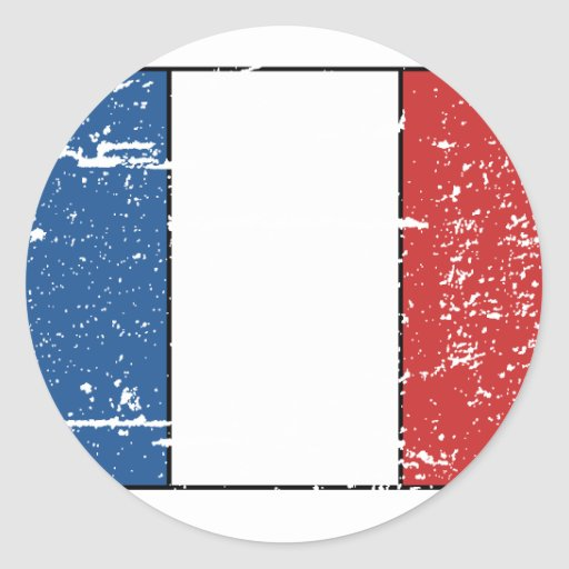 Vintage France Flag Round Stickers