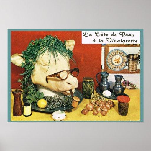 Vintage France, food, La tete de vaux Poster