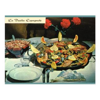 Vintage France, food, Le Paella espagnole Postcard
