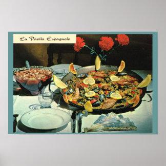 Vintage France, food, Le Paella Espanole Poster