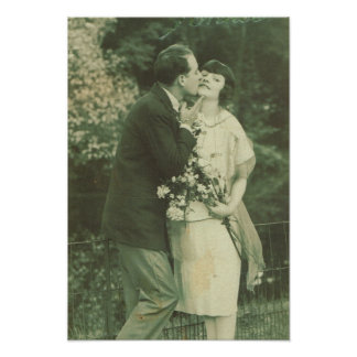 Vintage France, Loving Couple, kiss and flowers Poster
