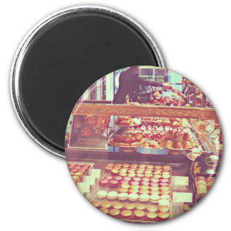 Vintage France macaroon shop 2 Inch Round Magnet