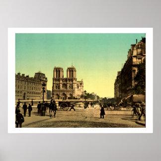 Vintage France, Notre Dame Cathedral, Paris Poster
