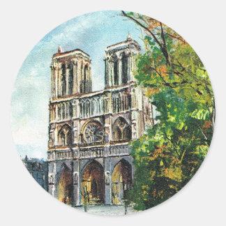 Vintage France, Notre Dame de Paris Classic Round Sticker