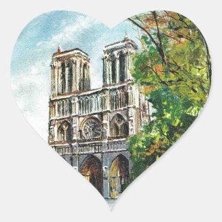 Vintage France, Notre Dame de Paris Heart Sticker
