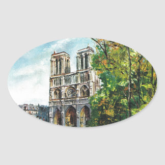 Vintage France, Notre Dame de Paris Oval Sticker