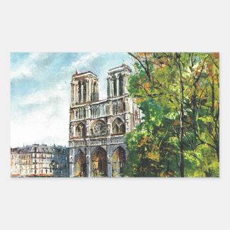 Vintage France, Notre Dame de Paris Rectangular Sticker