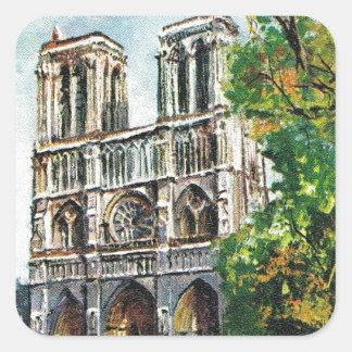 Vintage France, Notre Dame de Paris Square Sticker