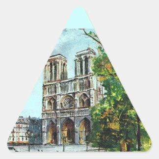Vintage France, Notre Dame de Paris Triangle Sticker