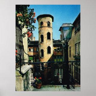 Vintage France, Old Lyon, silk weavers district Poster