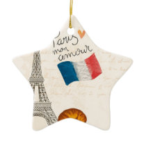 Vintage France Paris Eiffel Tower Ceramic Ornament