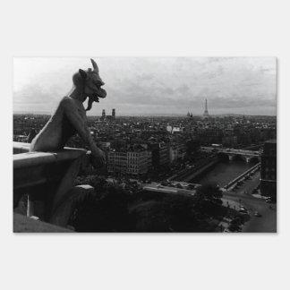 Vintage France Paris Notre Dame Cathedral devil Lawn Sign