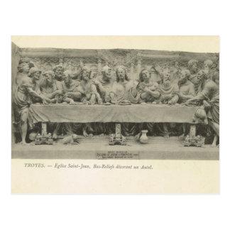 Vintage France, Troyes, Last Supper  sculpture Post Card