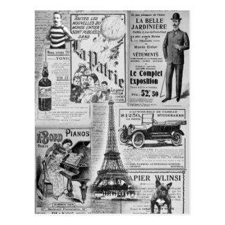 Vintage francés Eiffel Tarjetas Postales