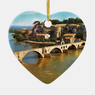 Vintage Francia, Aviñón; puente quebrado Adorno Navideño De Cerámica En Forma De Corazón