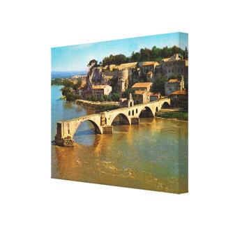 Vintage Francia Aviñón puente roto Impresión En Lienzo Estirada