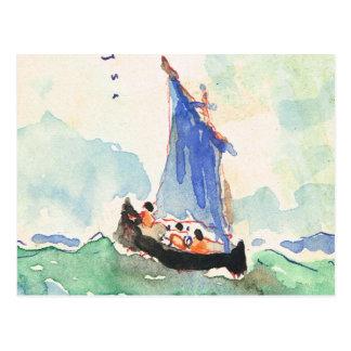 Vintage Francia, barco pintado a mano en el mar, Tarjeta Postal