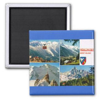 Vintage Francia, Chamonix, Mt Blanc Imán Cuadrado