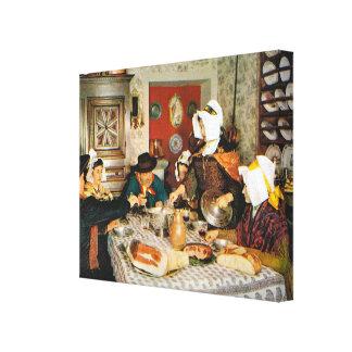 Vintage Francia, comida de la familia en el Auverg Impresión En Lona