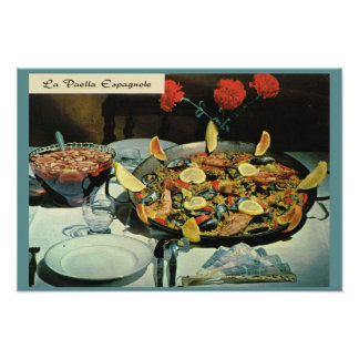 Vintage Francia, comida, Le Paella Espanole Póster