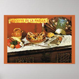 Vintage Francia, comida, Recette de la Paella Póster