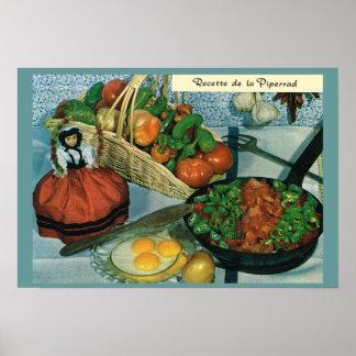 Vintage Francia, comida, recette de la Piperrad Póster