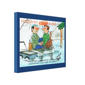 Vintage Francia, dibujo animado del pescador, Vivr Impresiones En Lienzo Estiradas