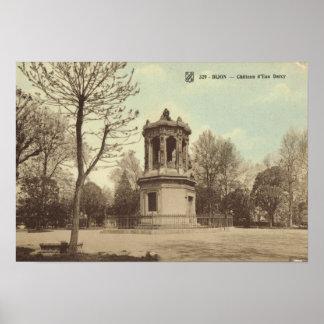 Vintage Francia Dijion d eau del castillo francé Impresiones