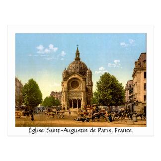 Vintage Francia, Église Santo-Agustín de París Tarjeta Postal