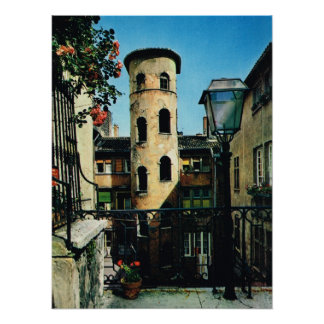 Vintage Francia, Lyon vieja, distrito de seda de l Póster