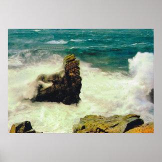Vintage Francia, mar agitado en Quiberon Póster