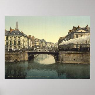 Vintage Francia, Nantes y el río Loira, Bretaña Póster