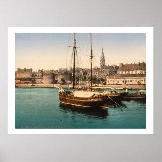 Vintage Francia, naves en el puerto de Malo del sa Póster